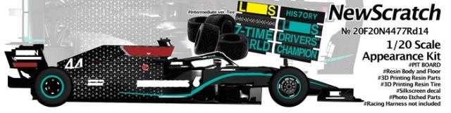 ニュースクラッチ 1/20 レジン&3Dパーツキット メルセデス AMG W11 トルコ GP 2020 インターミディエイトタイヤ仕様 L.ハミルトン ワールドチャンピオン/V.ボッタス 20F20N4477Rd14