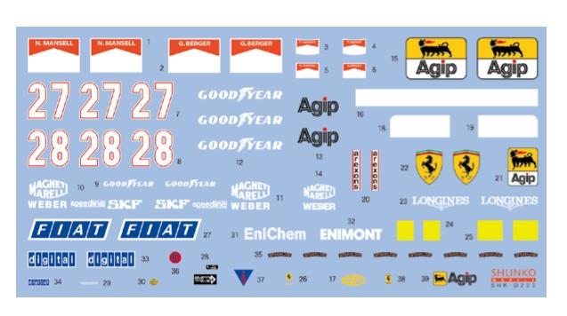 [再生産予約] シュンコーモデル 1/20 フェラーリ 640 F189 1989 フルスポンサーデカール タミヤ対応 SHK-D223