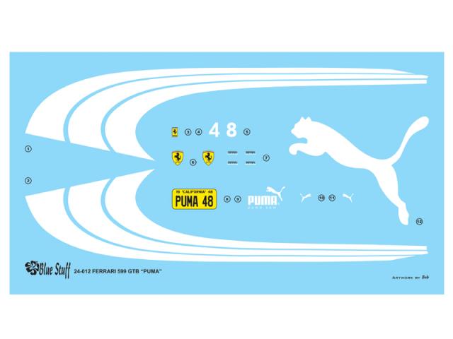 """ブルースタップ 1/24 フェラーリ 599 GTB """"プーマ"""" ドレスアップデカール フジミ対応 24-012"""
