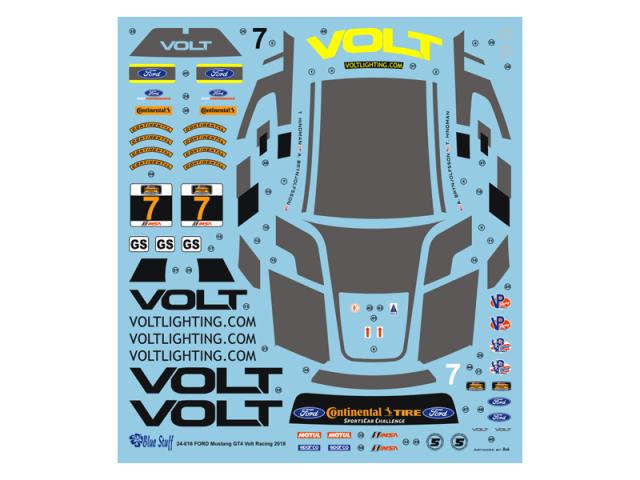"""ブルースタッフ 1/24 フォード マスタング GT4 """"VOLT"""" ワトキンスグレン 2018 フルスポンサーデカール (タミヤ対応) 24-017"""