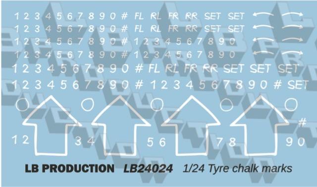 LBプロダクション 1/24 チョークマーク タイヤ用デカール LB24024