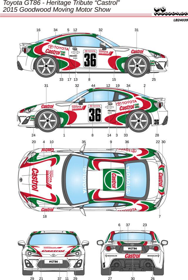 LBプロダクション 1/24 デカール トヨタ 86 GT カストロール 2015 グッドウッド モーターショー No.36 LB24040