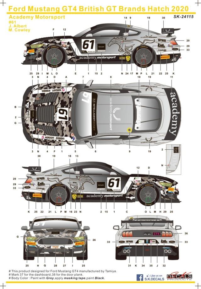 SK Decal 1/24 フォード マスタング GT4 ブランズハッチ 2020 No.61 フルスポンサーデカール (タミヤ対応) SK24115