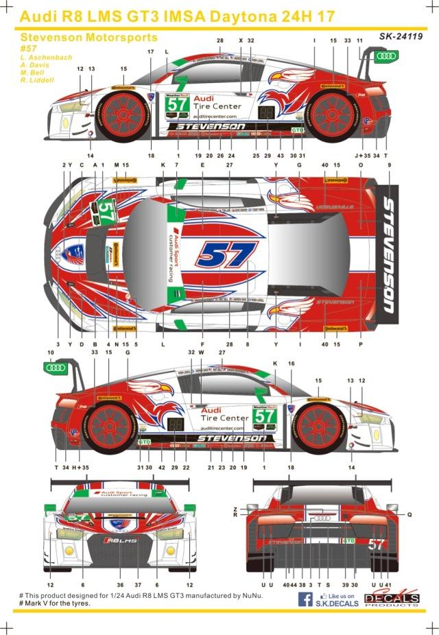 SK Decal 1/24 アウディ R8 LMS GT3 デイトナ 24h 2017 No.57 フルスポンサーデカール (プラッツ/nunu対応) SK24119