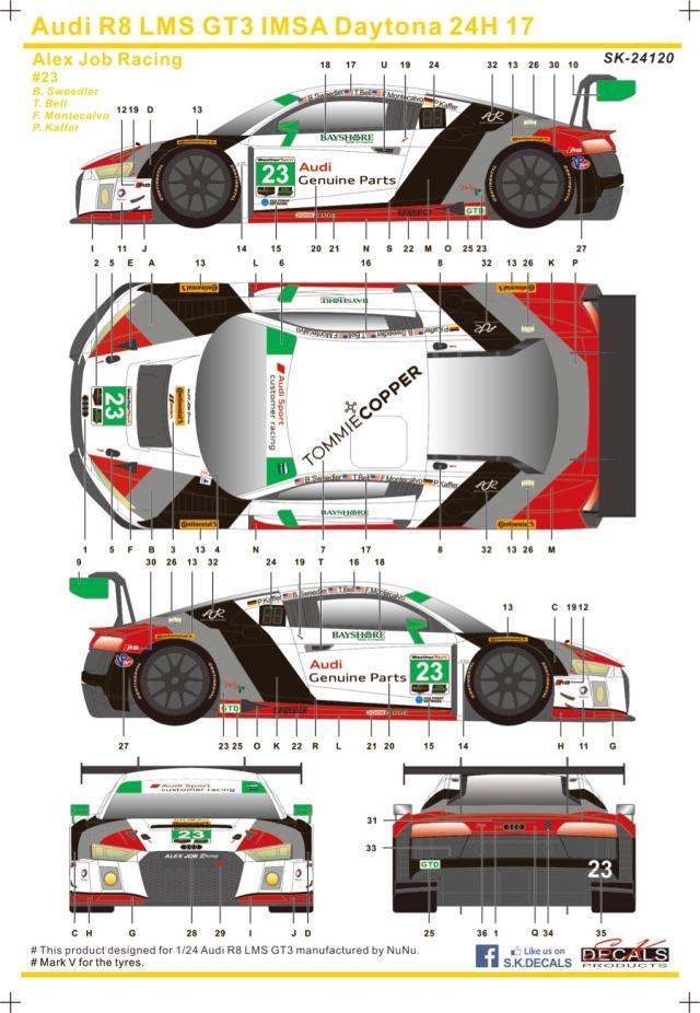 SK Decal 1/24 アウディ R8 LMS GT3 デイトナ 24h 2017 No.23 フルスポンサーデカール (プラッツ/nunu対応) SK24120