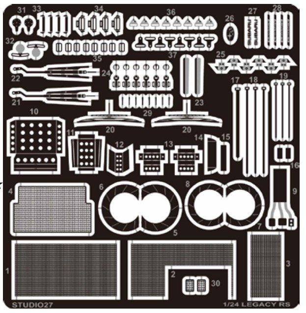 スタジオ27 1/24 スバル レガシー RS グレードアップパーツ シートベルトバックル&リボン付き (ハセガワ対応) FP24223
