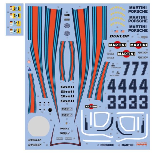 シュンコーモデル  1/24 ポルシェ 936/77 マルティニ ルマン 1977 1978 フルスポンサーデカール タミヤ対応 SHK-D382