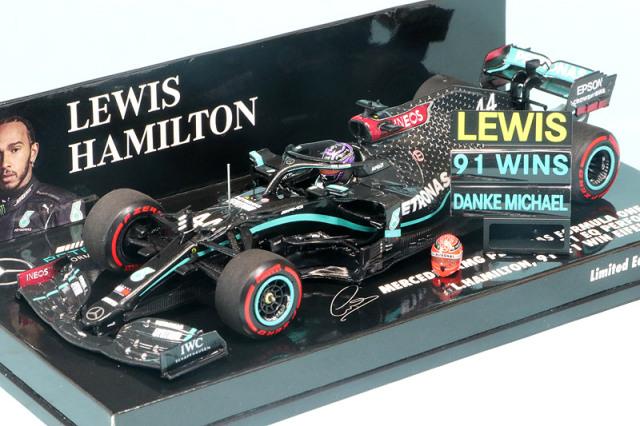 """ミニチャンプス 1/43 メルセデス AMG ペトロナス W11 EQパフォーマンス アイフェルGP 2020 L.ハミルトン """"91勝目"""" (ピットボード/ヘルメット付) 410201144"""