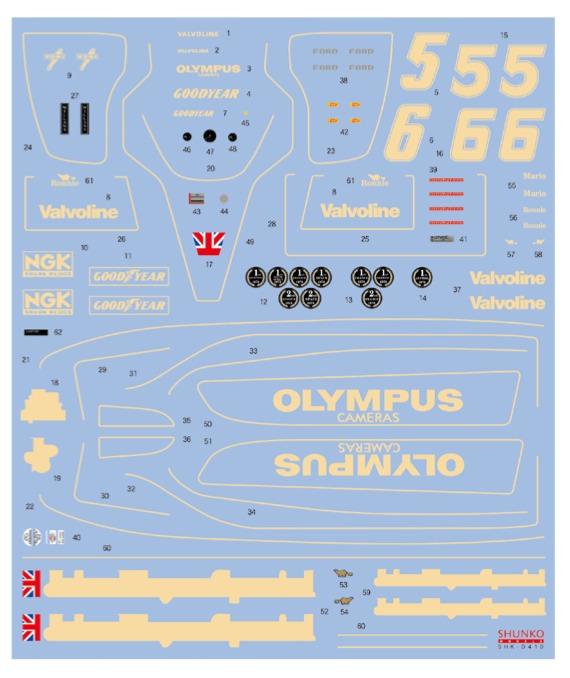 シュンコーモデル 1/20 ロータス 79 1978 フルスポンサーデカール (ハセガワ対応) SHK-D410