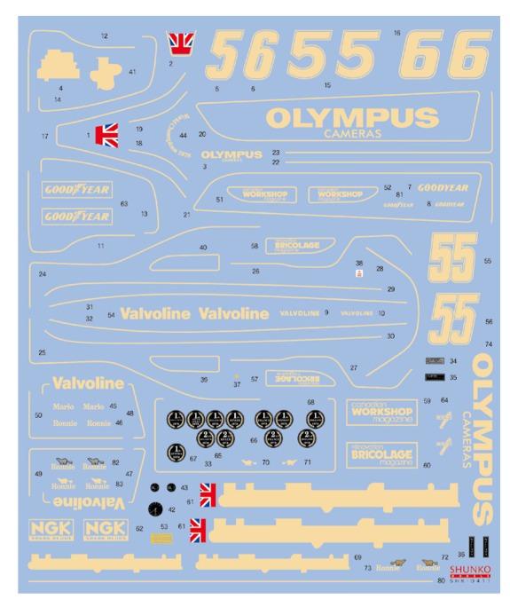 シュンコーモデル 1/20 ロータス 79 1978 フルスポンサーデカール タミヤ対応 SHK-D411
