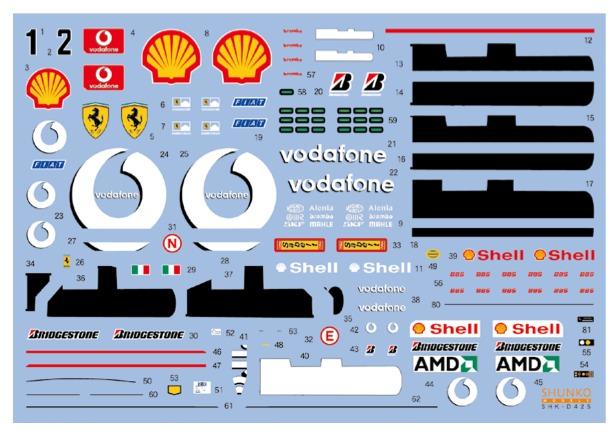 シュンコーモデル 1/20 フェラーリ F2001B F2002 オーストラリアGP 2002 フルスポンサーデカール (タミヤ対応) SHK-D425