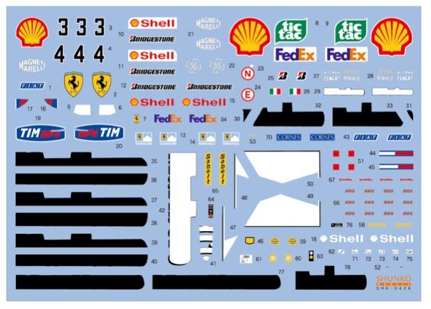 シュンコーモデル 1/20 フェラーリ F1-2000 2000 (タミヤ対応) SHK-D426