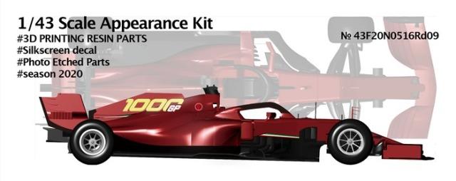 ニュースクラッチ 1/43 3Dパーツキット 跳ね馬 SF1000 トスカーナー ムジェロ GP 2020 フェラーリ F1 1000th GP  43F20N0516Rd09