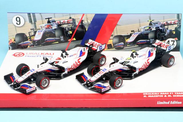 特注ミニチャンプス 1/43 ウラルカリ ハース F1チーム VF-21 2021 M.シューマッハ & N.マゼピン 2台セット 447210947