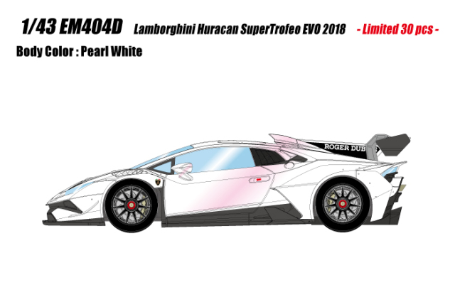 [予約] アイドロン 1/43 ランボルギーニ ウラカン LP620-2 スーパートロフェオ EVO 2018 パールホワイト (ピンクエフェクト)  限定30台 EM404D