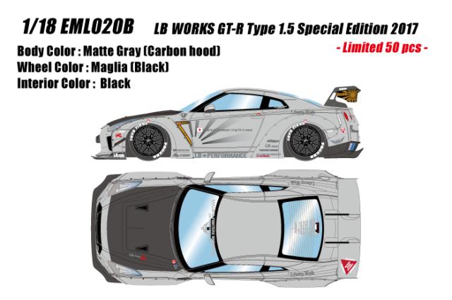 [予約] アイドロン 1/43 LB WORKS GT-R Type 1.5 スペシャルエディション 2017 マットグレー (限定50台) EML020B