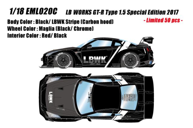 [予約] アイドロン 1/43 LB WORKS GT-R Type 1.5 スペシャルエディション 2017 ブラック/ LBWKストライプ (限定50台) EML020C