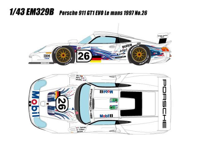 [予約] アイドロン 1/43 ポルシェ 911 GT1 EVO ルマン24時間 1997 No.26 EM329B