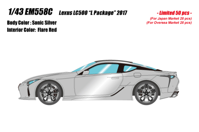 """[予約] アイドロン 1/43 レクサス LC500 """"L パッケージ"""" 2017 ソニックシルバー (フレアレッド・ブラックインテリア) (限定50台、国内販売25台) EM558C"""