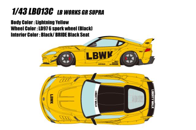 [予約] アイドロン 1/43 LB ワークス GR スープラ 6スポークホイール ライトニングイエロー (限定60台、国内販売30台) LB013C
