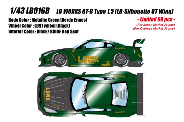 [予約] アイドロン 1/43 LB ワークス GT-R タイプ1.5 (LBシルエット GTウィング) メタリックグリーン (限定60台、国内販売30台) LB016B
