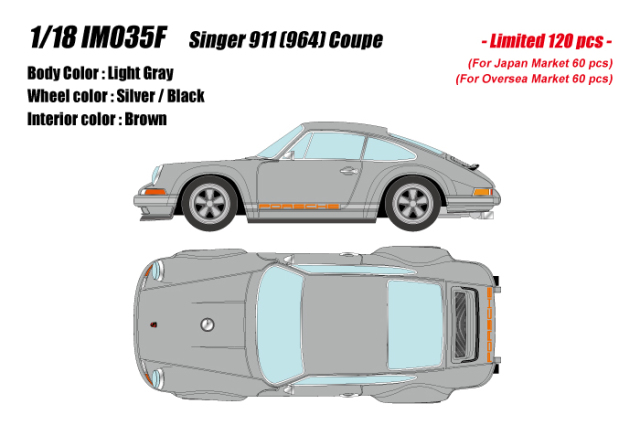 [予約] イデア 1/18 シンガー 911 (964) クーペ ライトグレー (限定120台、国内販売60台) IM035F