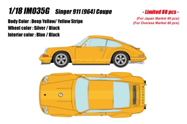 [予約] イデア 1/18 シンガー 911 (964) クーペ イエロー (イエローストライプ) (限定80台、国内販売40台) IM035G