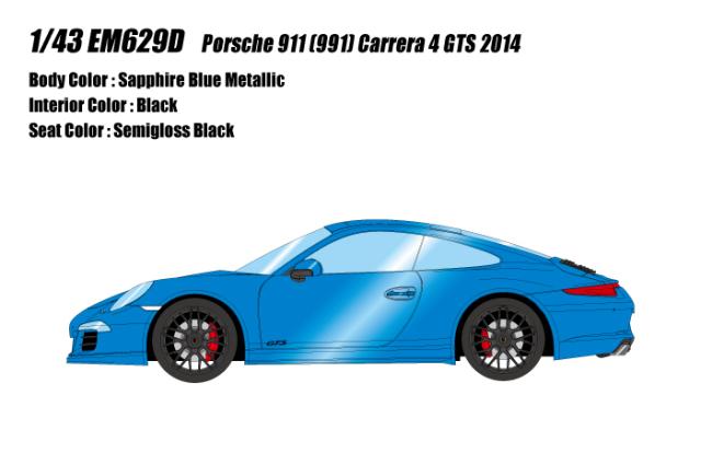 [予約] アイドロン 1/43 ポルシェ 911 (991) カレラ4 GTS 2014 サファイアブルーメタリック EM629D