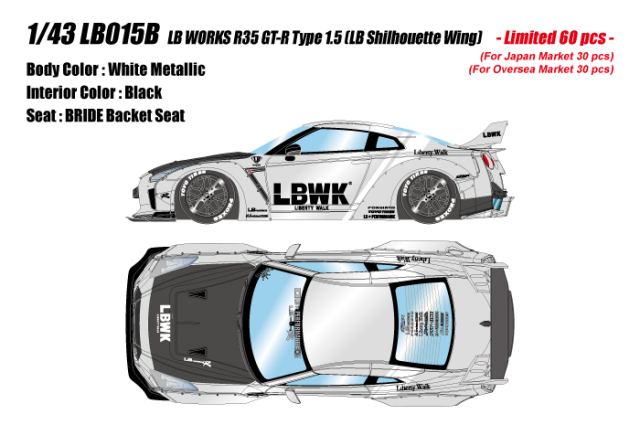[予約] アイドロン 1/43 LB WORKS GT-R Type 1.5 (シルエットワークスウィング) メタリックホワイト/ブラックストライプ (限定60台、国内販売30台) LB015B