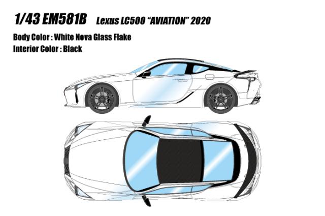 """[予約] アイドロン 1/43 レクサス LC500 """"AVIATION"""" 2020 ホワイトノヴァガラスフレーク EM581B"""