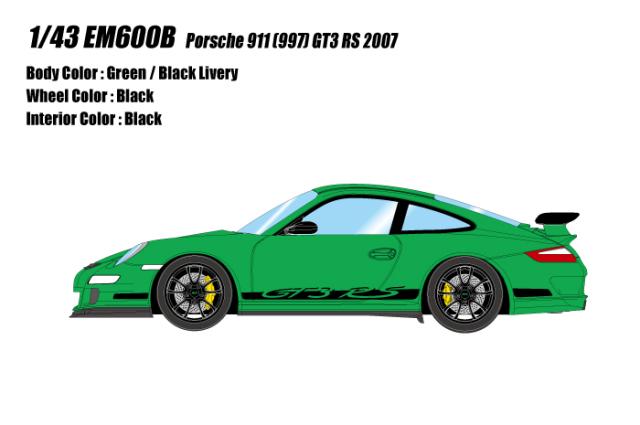 [予約] アイドロン 1/43 ポルシェ 911 (997) GT3 RS 2007 グリーン / ブラックリバリー EM600B