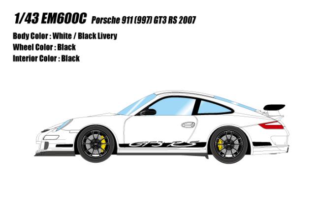 [予約] アイドロン 1/43 ポルシェ 911 (997) GT3 RS 2007 ホワイト / ブラックリバリー EM600C