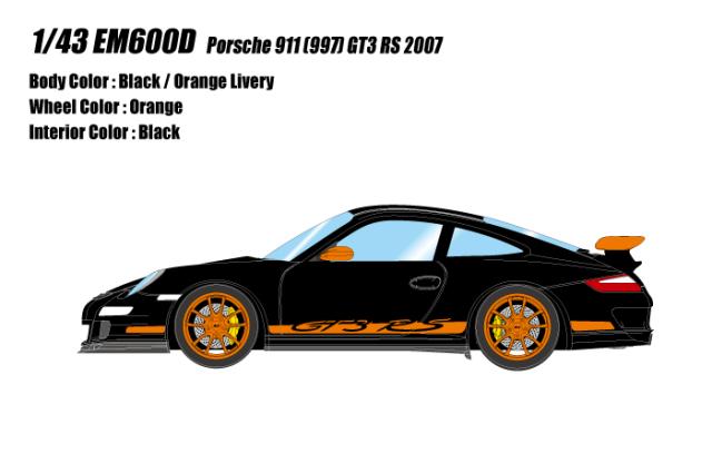 [予約] アイドロン 1/43 ポルシェ 911 (997) GT3 RS 2007 ブラック / オレンジリバリー EM600D