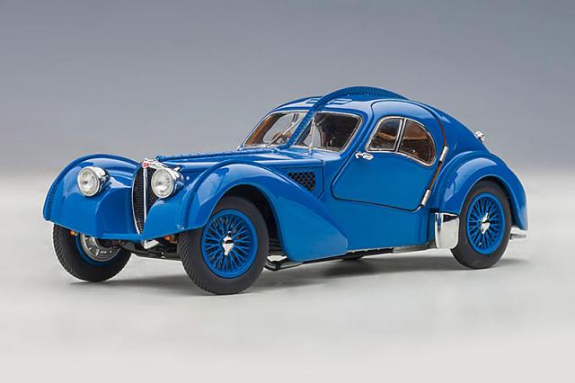 [予約] オートアート 1/43 ブガッティ タイプ57SC アトランティック 1938 ブルー フル開閉 (ワイヤーホイール) 50947