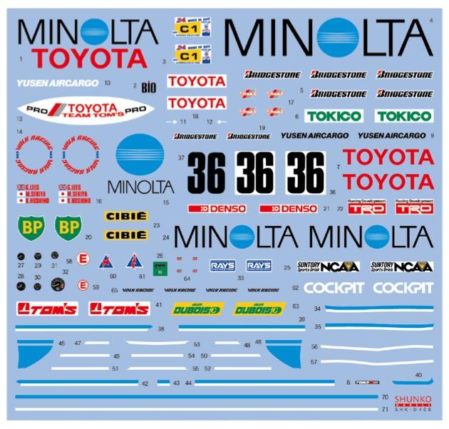 シュンコーモデル 1/24 トヨタ 88C MINOLTA ルマン 1988 フルスポンサーデカール ハセガワ対応 SHK-D406