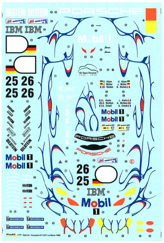 プロフィール24 1/24 スペアデカール ポルシェ 911 GT1 Mobil ルマン 1998 No.25/26 P24114DC