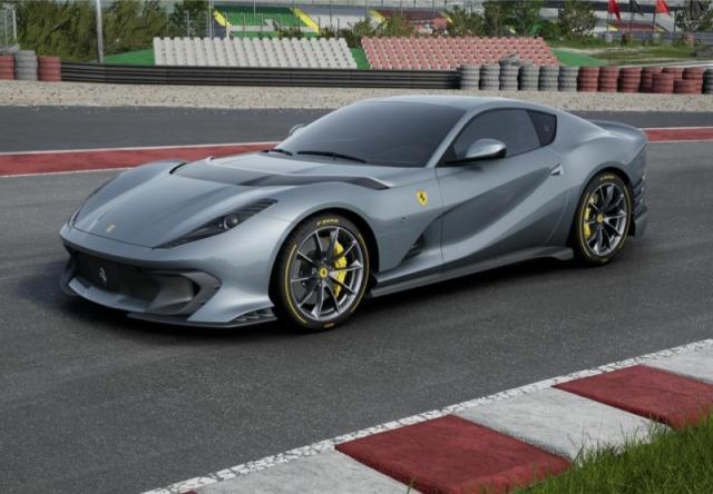 [予約] BBR 1/18 フェラーリ 812 コンペティチオーネ 2021 グレー シルバーニュルホリゾンタルストライプ ディスプレイケース付き P18207A3