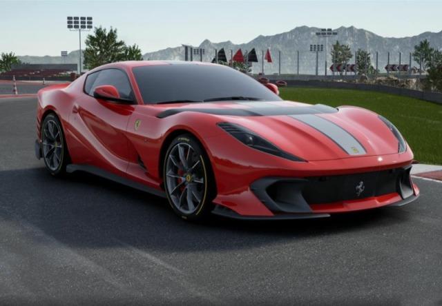 [予約] BBR 1/18 フェラーリ 812 コンペティチオーネ 2021 ロッソコルサ322 レーシングシルバーニュルストライプ ディスプレイケース付き P18207B1
