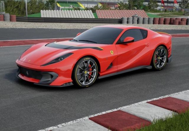 [予約] BBR 1/18 フェラーリ 812 コンペティチオーネ 2021 ロッソコルサ322 レーシングイエローホリゾンタルストライプ ディスプレイケース付き P18207B2