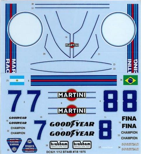 スタジオ27 1/12 ブラバム BT44 1975 No.7/8 フルスポンサーデカール タミヤ対応 DC921