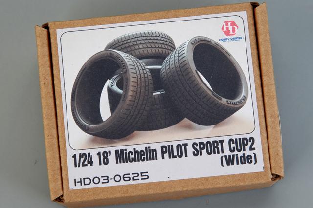 ホビーデザイン 1/24 18インチ ミシュラン パイロットスポーツカップ2 ワイドタイヤ HD03-0625
