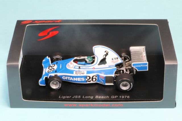 ロム独占再生産特注スパーク 1/43 リジェ JS5 ロングビーチ 1976 J.ラフィ 限定200台 デカール加工品 S1630(ROMUJS5)