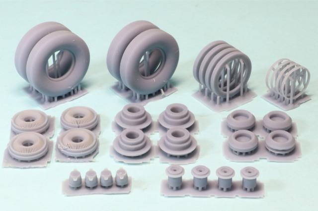 ホビーショップ299  1/24 3Dプリントパーツ 汎用ホイール&タイヤ セット 1950年代 アメ車推奨 タイヤ外径33mm 内径17.5mm 幅8.5mm 2992401