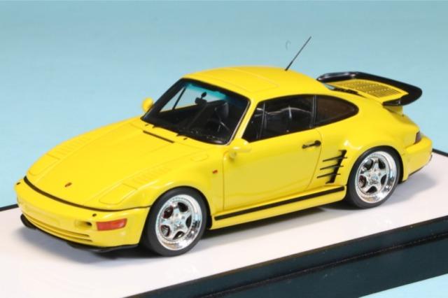 ヴィジョン 1/43 ポルシェ 911(964) ターボ S エクスクルーシブ フラットノーズ 1994(日本仕様) スピードイエロー (ブラックインテリア) VM161E