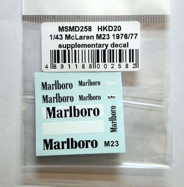 MSMクリエイション 11/43 マクラーレン M23 1976/77 マルボロデケール MSMD258