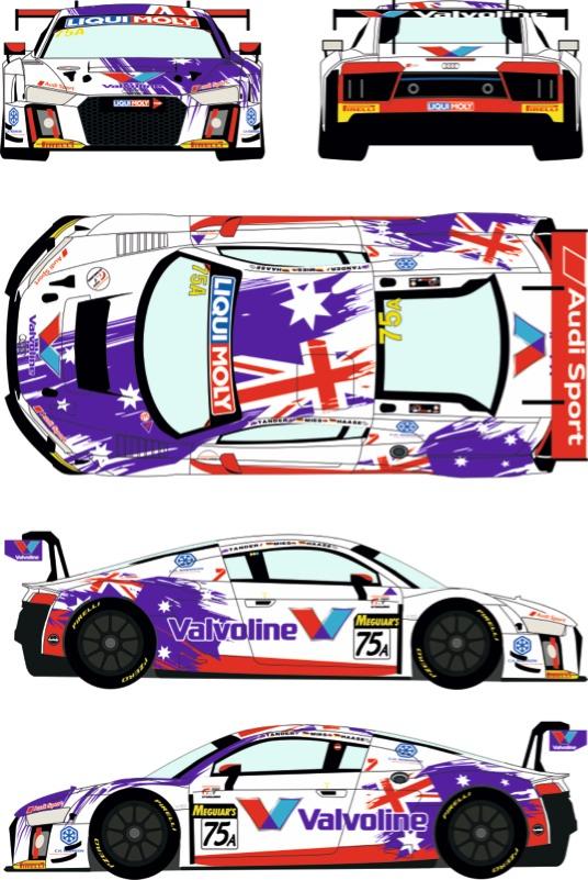 レーシングデカールズ 1/24 アウディ R8 LMS GT3 バサースト 12h 2017 No.75 フルスポンサーデカール (nunu対応) RDE24-034