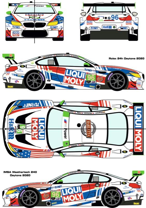 """レーシングデカールズ 1/24 BMW M6 GTD """"リキモリ"""" デイトナ 24h 2020 No.96 フルスポンサーデカール (NuNu対応) RDE24-036"""