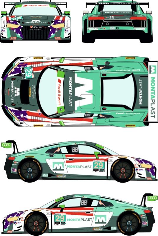 レーシングデカールズ 1/24 アウディ R8 LMS GT3 IMSA グレン 6h 2018 No.29 フルスポンサーデカール (NuNu対応) RDE24-038