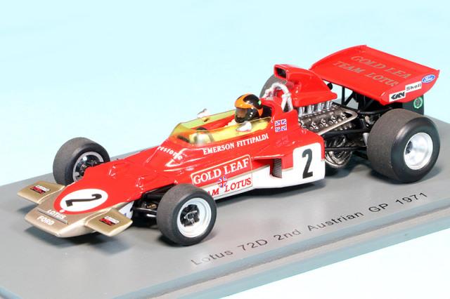 スパーク 1/43 ロータス 72D オーストリアGP 1971 2nd E.フィッティパルディ デカール加工品 S7125S