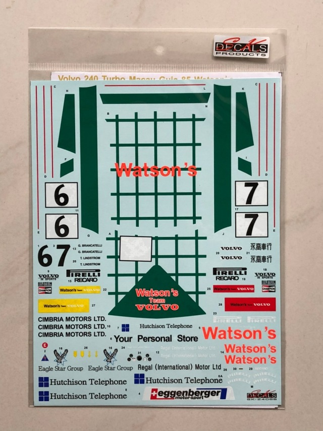 SK Decal 1/24 ボルボ 240 ターボ WATSON'S マカオギア 1985 NO.6/7 SK24068